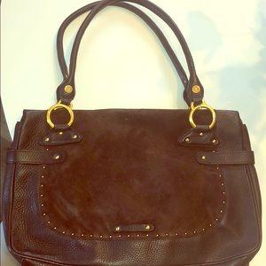 Cole Haan Rich Suede Handbag Gold Detail
